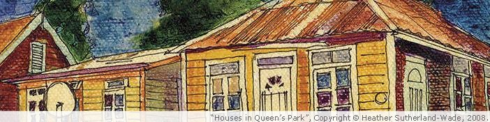 &quot;Houses in Queen's Park&quot; artwork by Heather Sutherland-Wade. Copyright, 2008.